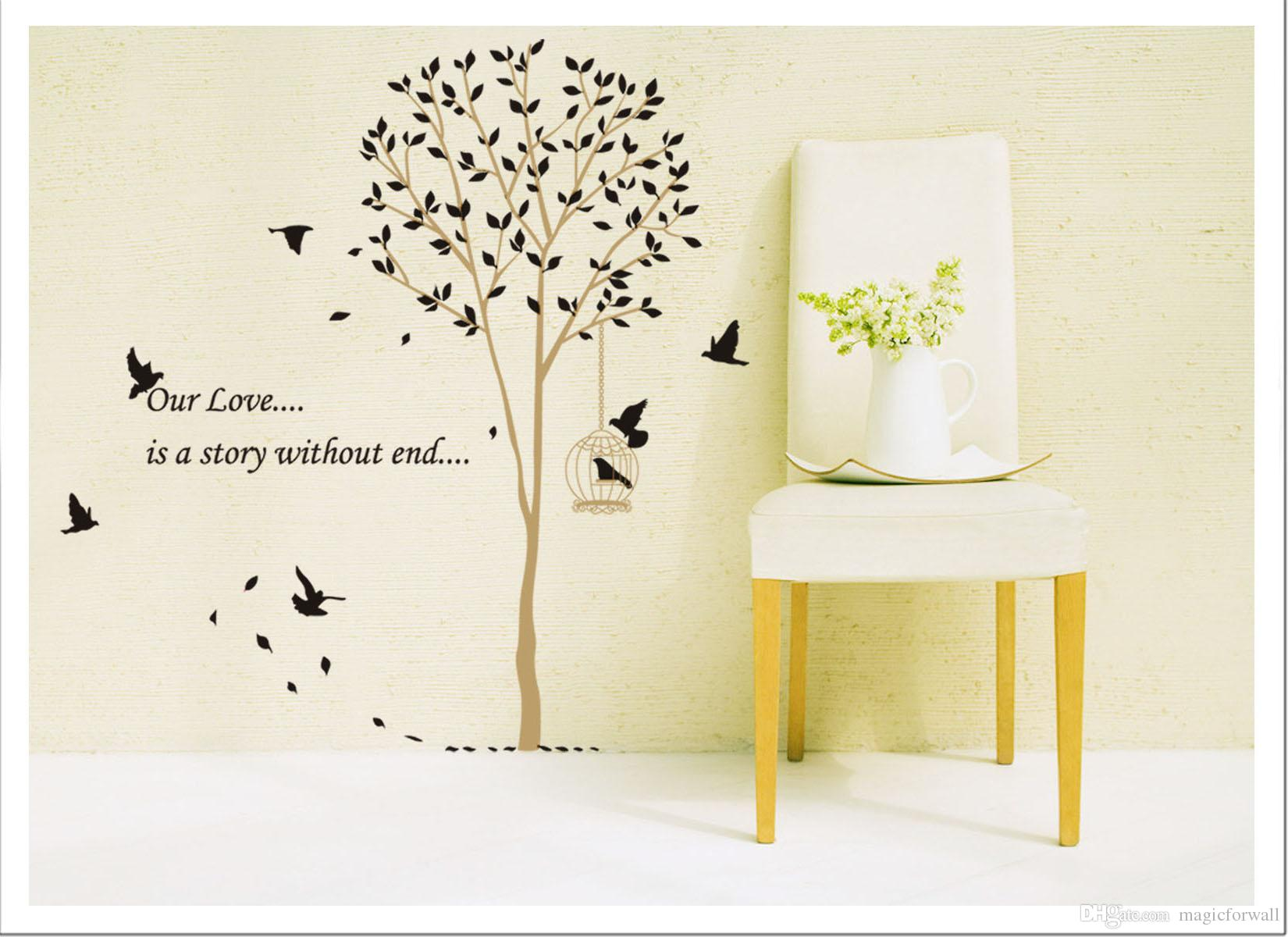 Black Forest Birds Tree Branch Wall Quote Decor Art Mural Home Decoration Stickers Removable Birds Sing on the Tree Wall Sticker Poster