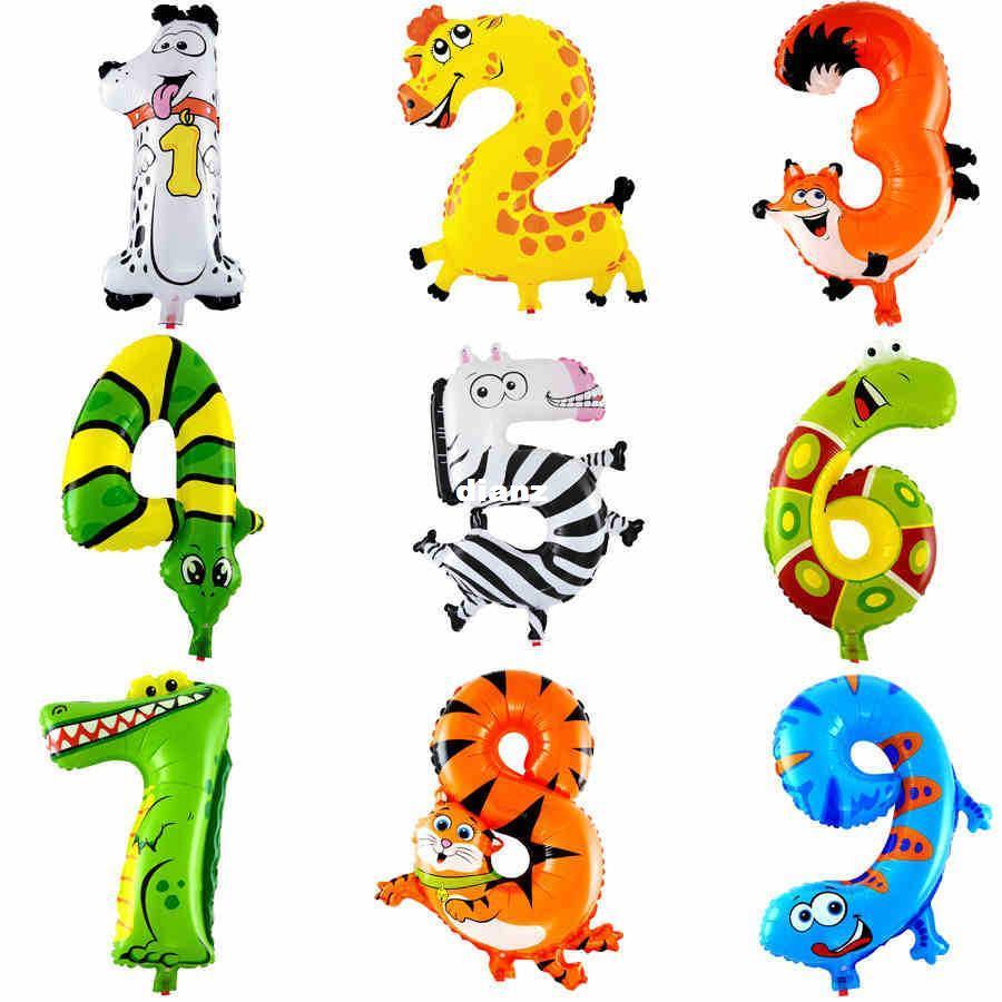 Palloncini stagnola numero animale da 16 pollici Decorazione per bambini Decorazione buon compleanno Decorazione Ballon regalo