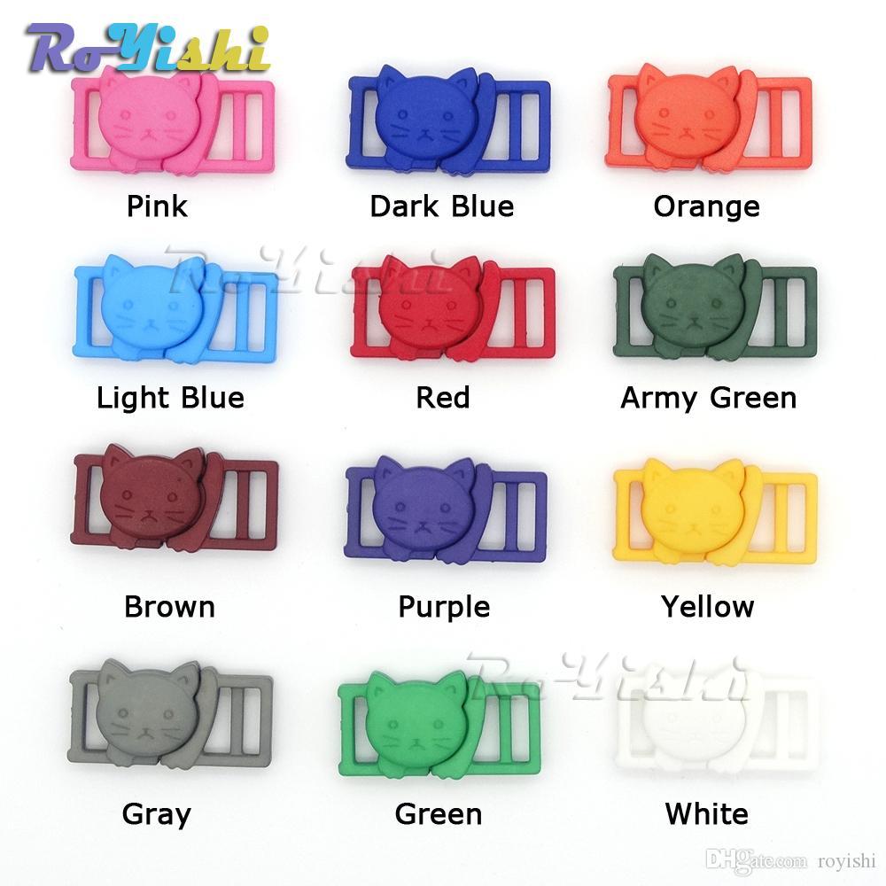 "100 stks / partij 3/8 ""Gemengde kleur Cat-Head Plastic Safty Breakaway Bucks voor BH Cat Collar Paracord Webbing Garment Accessoires"