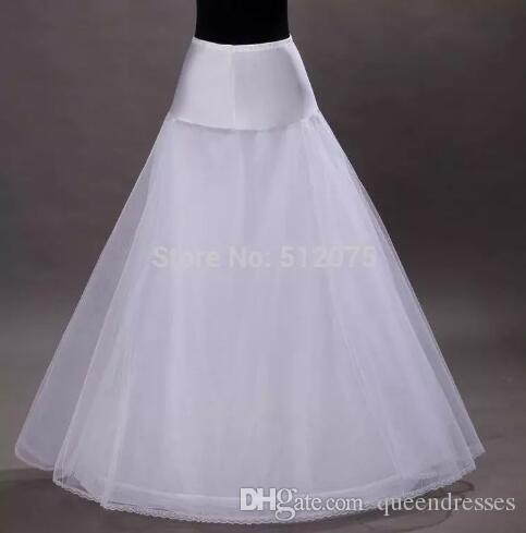 Hot Seller In Stock 1 Hoop Tulle Netting A-Line 2 Tier Floor Length Style Bridal Petticoats for White Wedding Dresses
