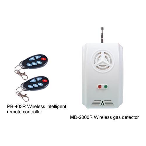 Kapalı sahne alarmı Kablosuz gaz dedektörü Kablosuz akıllı uzaktan MD-2000R + PB-403R