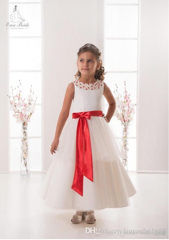 진주 국자 새시 Tulle 라인 어 클 렉 길이 아기 소녀 생일 파티 크리스마스 드레스 어린이 소녀 파티 드레스 꽃 파는 아가씨 드레스