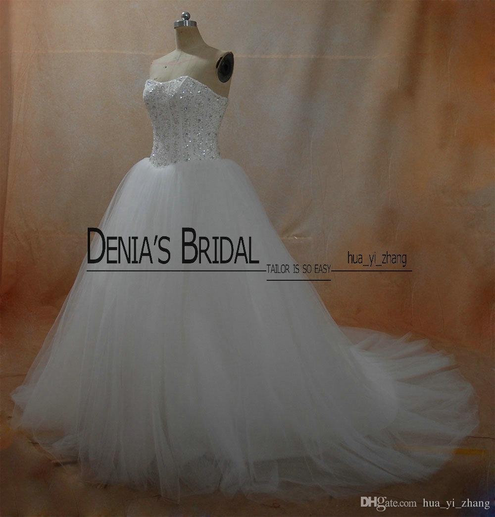 진짜 공 가운 웨딩 드레스 2016 푹신한 공주 Tulle Court Train Bridal Gowns와 함께 골치 아픈 건 몸매