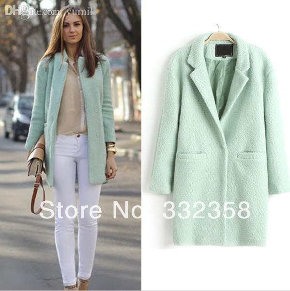 retro hot sale online 100% high quality 2019 Wholesale New Designer Fall/Winter Fashion Coat Women Jacket Classic  Mint Green Lapel Double Pocket Longline Oversize Wool Coat Windbreake From  ...