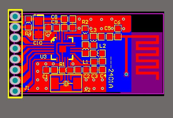 2.4GHz 무선 모듈 NRF24L01 모듈 PCB 파일 24L01 PCB 디자인 파일