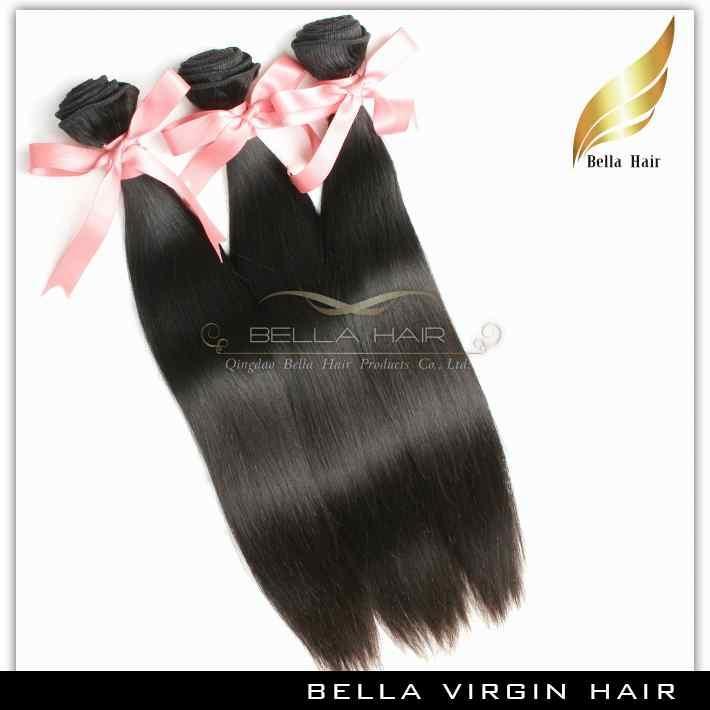 Peruwiańskie włosy splot jedwabisty prosty Remy Włosy Wątek Ludzki Włosy Przedłużanie 3 sztuk / partia Naturalny Kolor Grade 9A 10-24 cal Darmowa Wysyłka