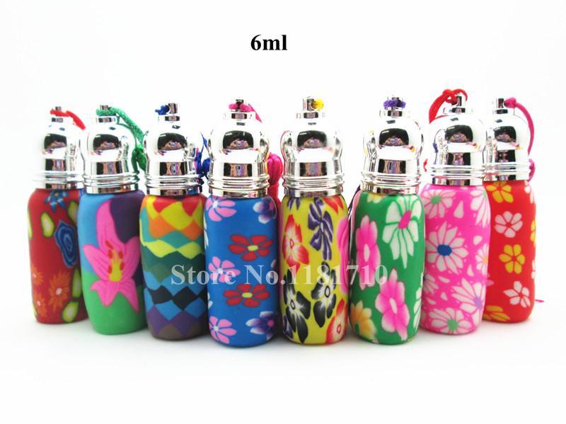 Envío gratis 30 unids / lote 6 ml rollo en botellas de perfume botella de arcilla polimérica recargable pequeño perfume botella de vidrio de aceite esencial