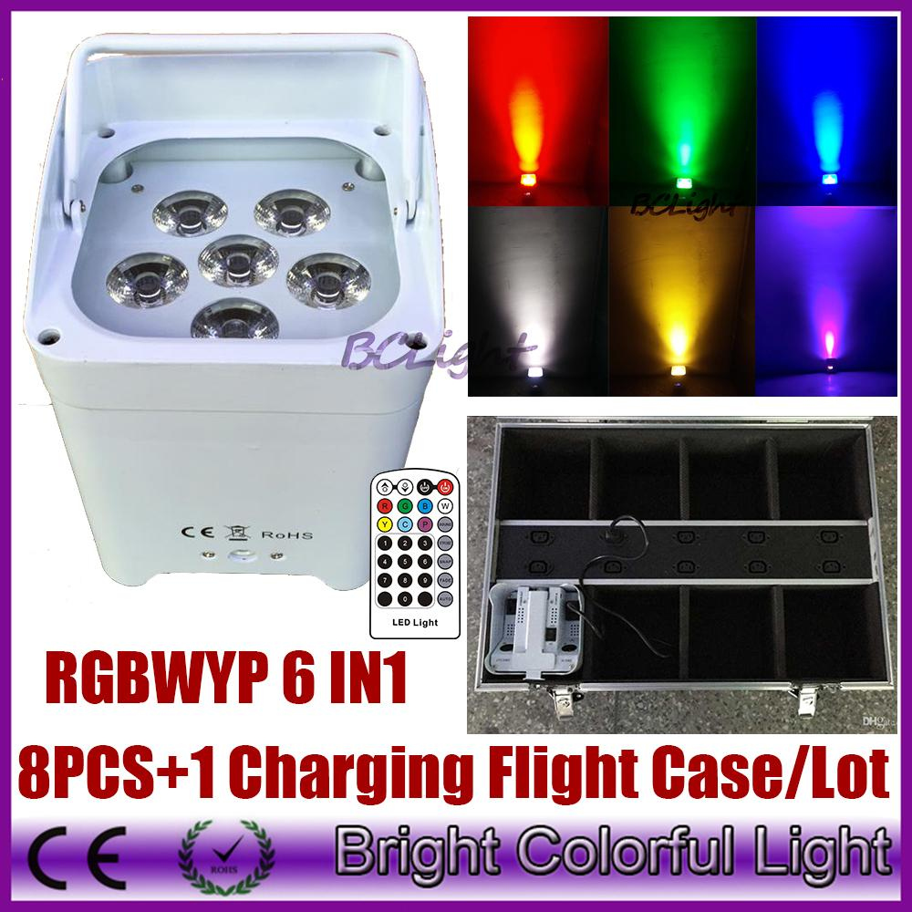 8XLOT WHIT Charging road case RGBWA UV 6IN1 Battery Wireless Led Par Light DMX 6/10CH American Dj Freedom Led Par Cans
