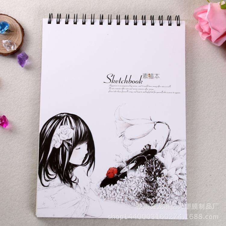 Wholesale- South Korea Retro Breeze Girl Braffiti Sketch of the Painting of the A4 Sketchbooks this Blank Coil