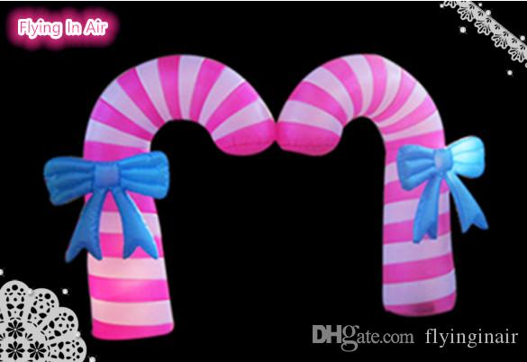 Customized Size Double Christmas Inflatable Candy Cane for Christmas Decoration