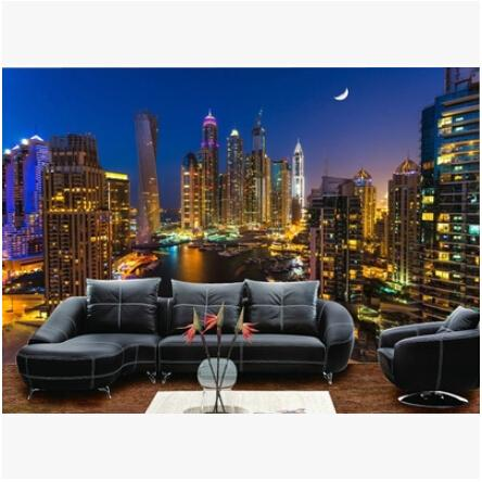 Mural 3D Hongkong City Night Scene Large Murals Mediterranean TV Backdrop  Sofa Bedroom Background Wall Mural