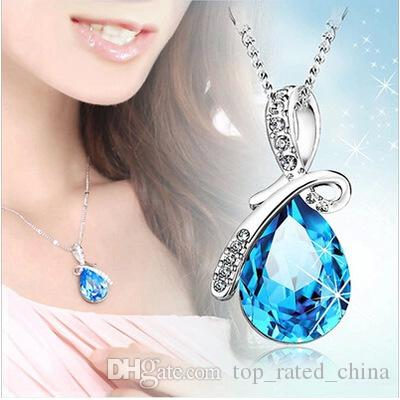 2016 Fashion Women Austria Diamond Crystal Angel's tear Statement Pendant necklace Jewelry Fit 925 Silver Plated Necklace Pendant
