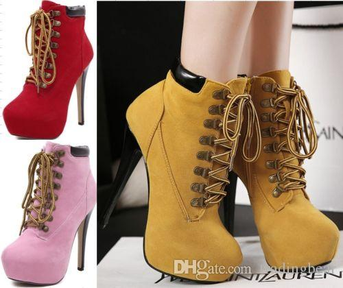 Для женщин Узелок высокой пятки лодыжки загрузки Ботильоны Stiletto платформы миндальное Toe обувь Размер 35 до 40