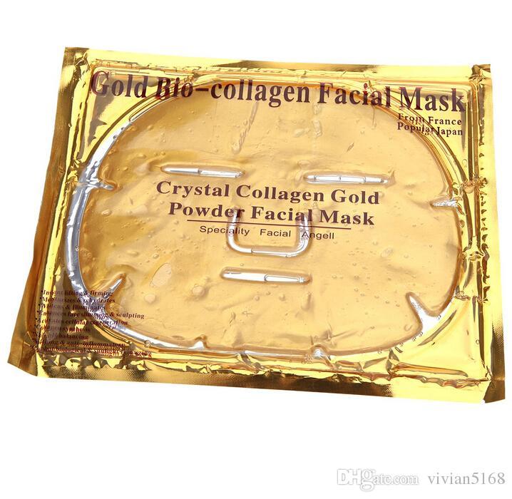 2016 New arrive Gold Bio-Collagen Facial Mask Face Mask Crystal Gold Powder Collagen Facial Mask Moisturizing Anti-aging Drop Shipping
