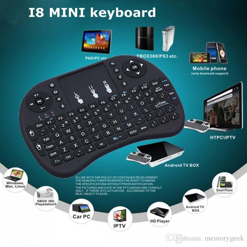 뜨거운 판매 휴대용 미니 키보드 Rii 미니 i8 무선 키보드 터치 패드 PC 패드에 대 한 Google Andriod TV 상자 무료 배송
