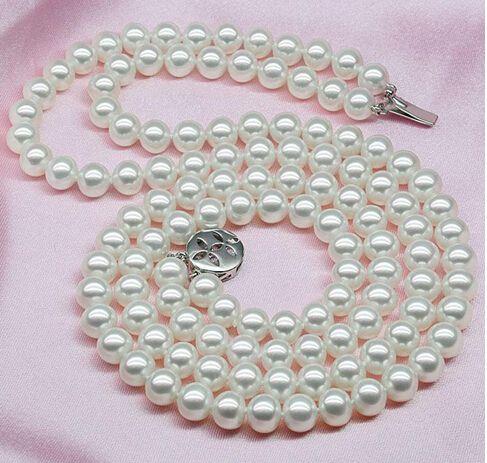 Лучший купить жемчуг ювелирные изделия 8-9 мм естественная красота белый akoya жемчужное ожерелье двойное ожерелье чрезвычайно блестящий безупречный бисером ожерелья