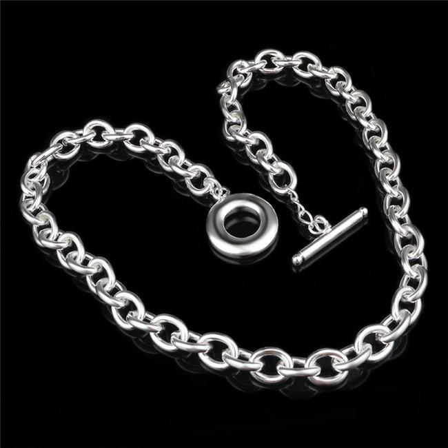 High quality 925 sterling silver plated TO chokers necklaces fashion unisex jewelry factory price free shipping