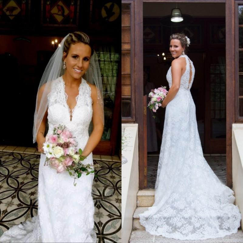 Discount 2015 Gorgeous Halter Wedding Dress Plunging Deep V Neck ...