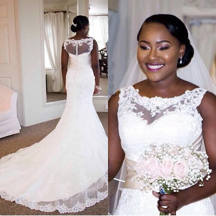Traditional White Lace Wedding Dresses Jewel Neckline Appliqued