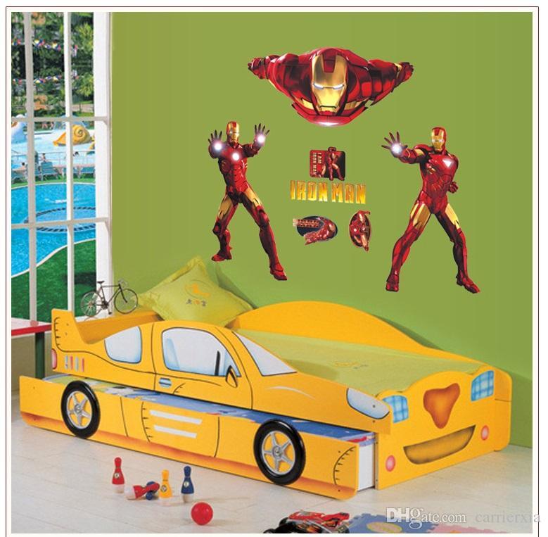 Diy Iron Man Removable Wall Sticker Kids Room Wall Decor Superhero ...