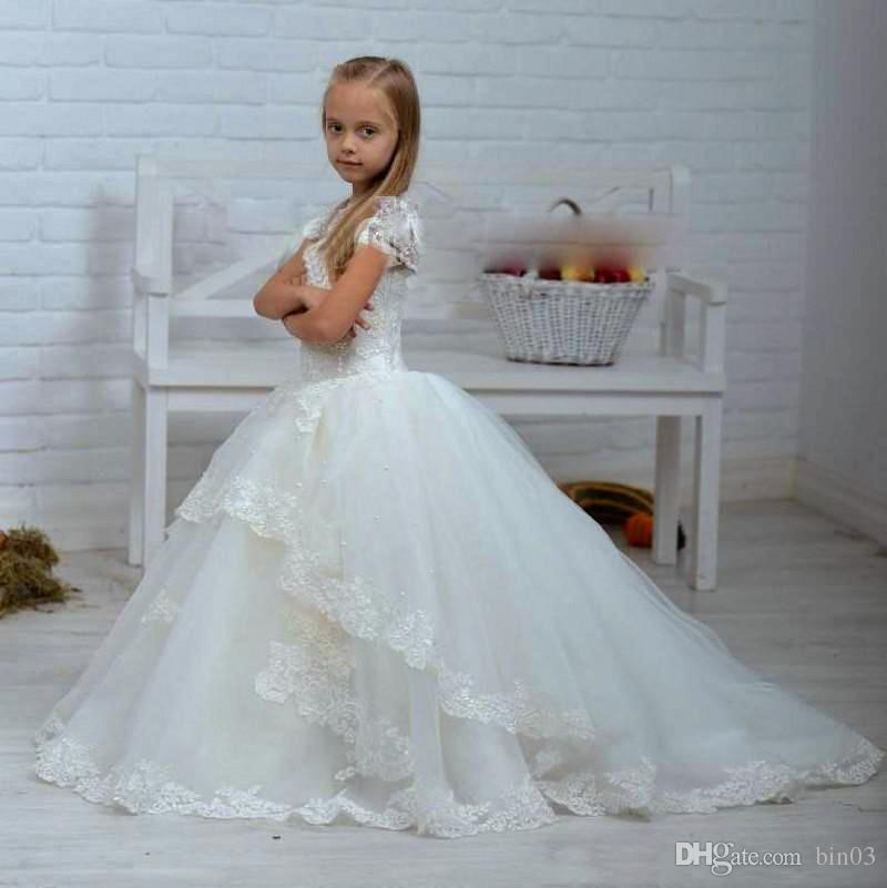 New Lace Beaded Ball Gown Flower Girls Dresses For Wedding Baby Girl ...