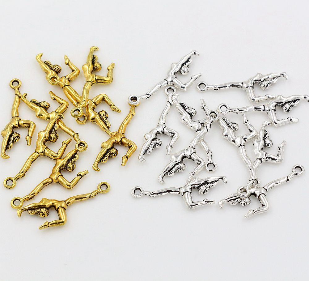 Hot ! 200PCS Antique Silver / Antique Gold Double-sided design Gymnastics Gymnast Athlete Charms pendants DIY Jewelry 11 x 30mm
