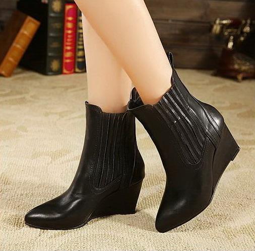 Горячей !! Aiko Новые ботинки неподдельной кожи способа указали носки высокие каблуки клинья ботинки женщин ботинки