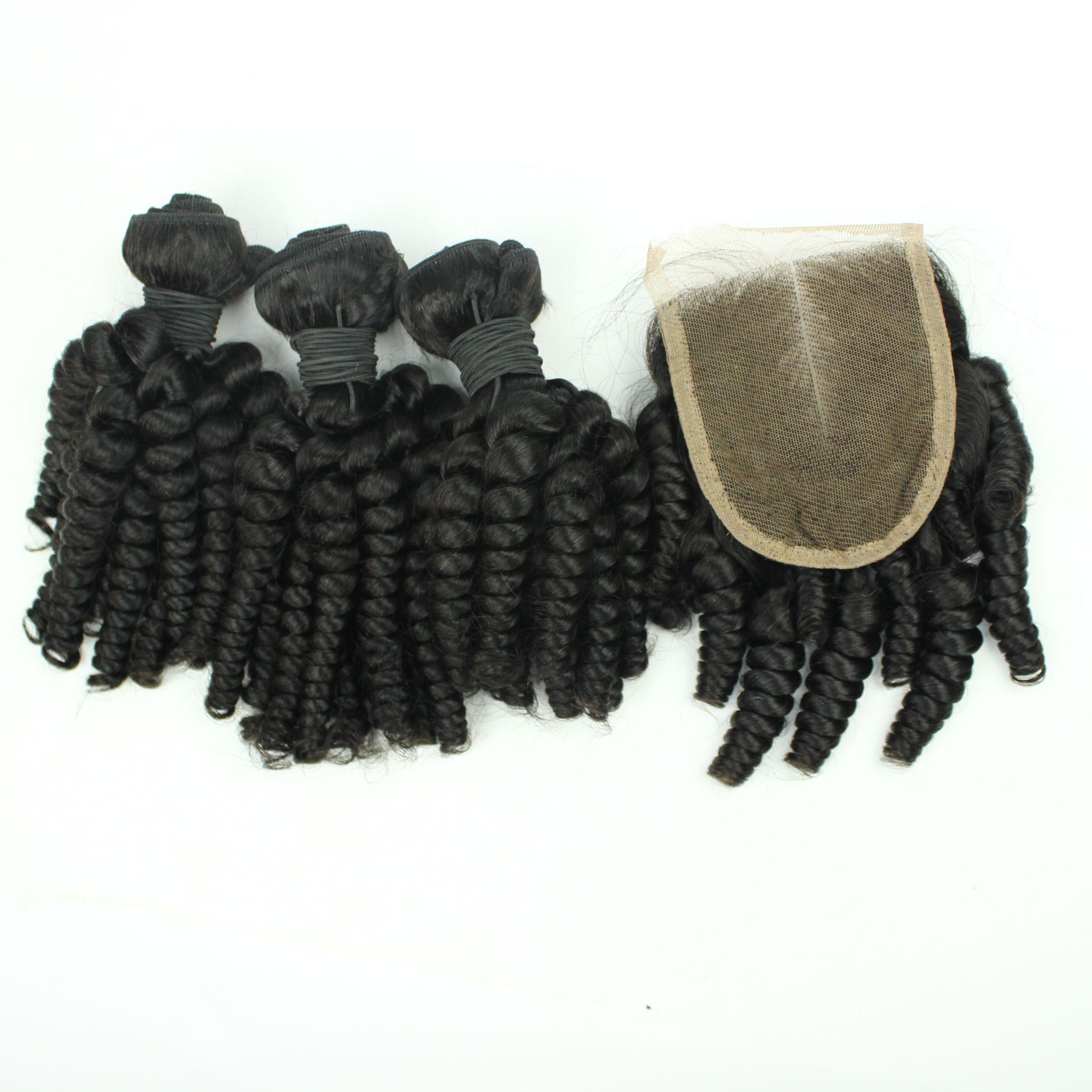 브라질 머리카락 묶음 레이스 클로즈 Funmi Curly Human Weave 미처리 버진 헤어 인도 말레이지아 페루 헤어 익스텐션