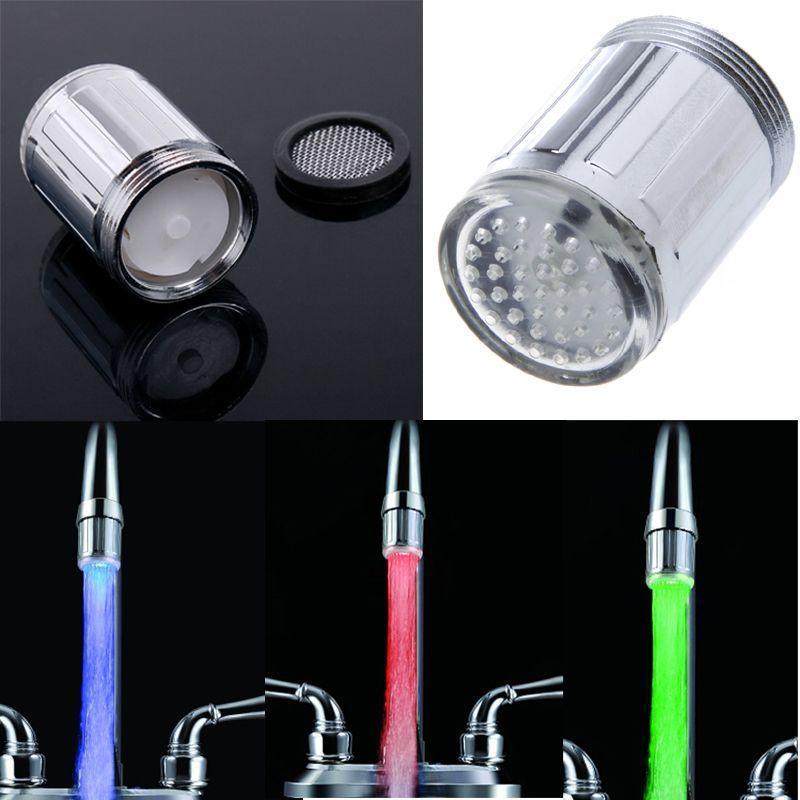 Светодиодные кран огни контроль температуры кран датчик раковина кран свечение огни Waterfull душ лампы RGB 3-Цвет свечение воды кран свет