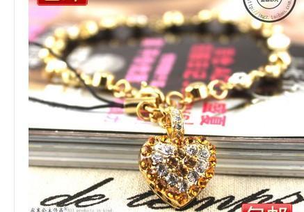золотой кристалл сердце падение женщин'sbracelet ( ming320 )