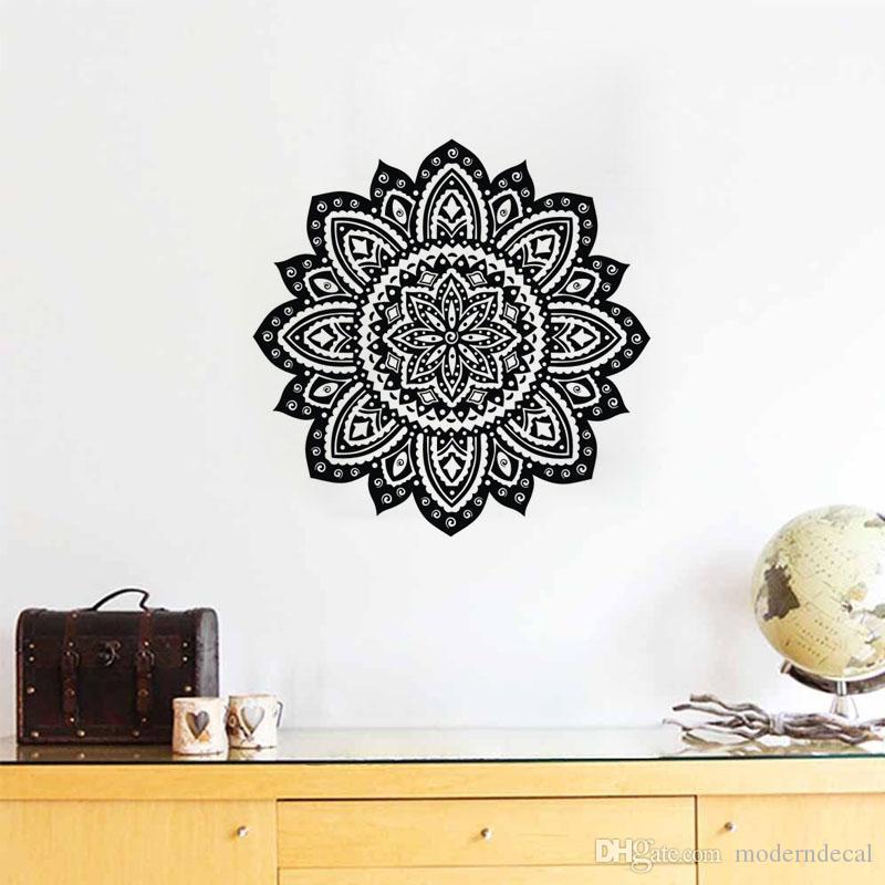 Criativo Adesivos de Parede Mandala Padrão Decoração Da Parede Decalques de Parede de Vinil Indiano Yoga Janela Adesivos Arte Murais