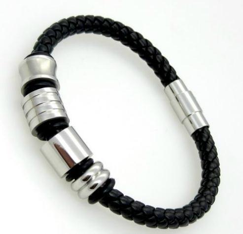 Heißer verkauf edelstahl magnetschnalle armbänder gewebt leder seil titanium stahl armband