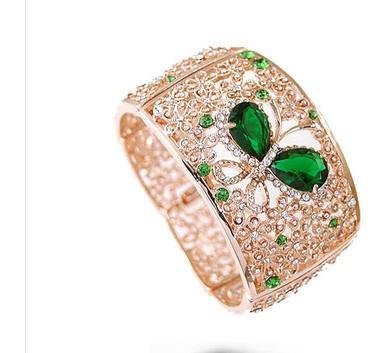 cristal ouro oco diamante borboleta flor da senhora pulseira (ma52)