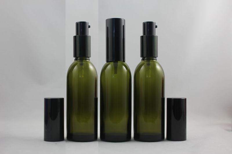 블랙 알루미늄 로션 펌프 60ml의 올리브 녹색 유리 병 로션, 액상 화장품 용기를위한 포장