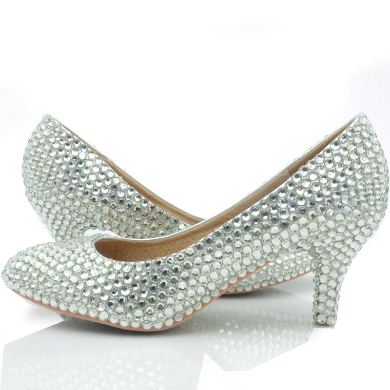 Middle Heel Silver Color Wedding Shoes Glitter Women Comfortable
