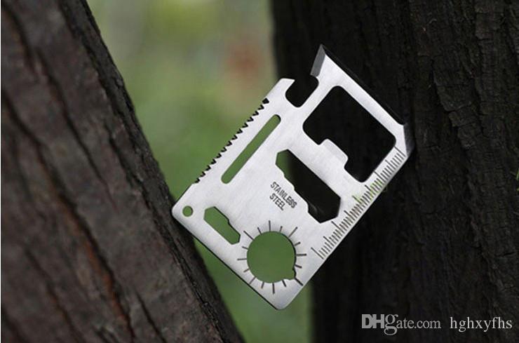 Herramientas de la tarjeta de crédito del acero inoxidable 200PCS Multi, acampar al aire libre que acampa herramienta de la carpeta de bolsillo portátil de la supervivencia con el paquete de cuero