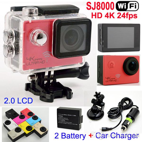 SJ8000 WiFi Sport Kamera 1080P 60fps 16MP Real HD 4K 24FPS Wasserdichte Action Kamera + Autohalterung Ladegerät 2.0LCD Helm Video DVR