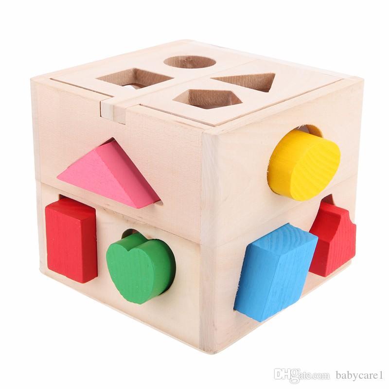 13 ثقوب الطفل لون الاعتراف الاستخبارات اللعب الطوب خشبية الشكل فارز مكعب المعرفية وكتل مطابقة للأطفال