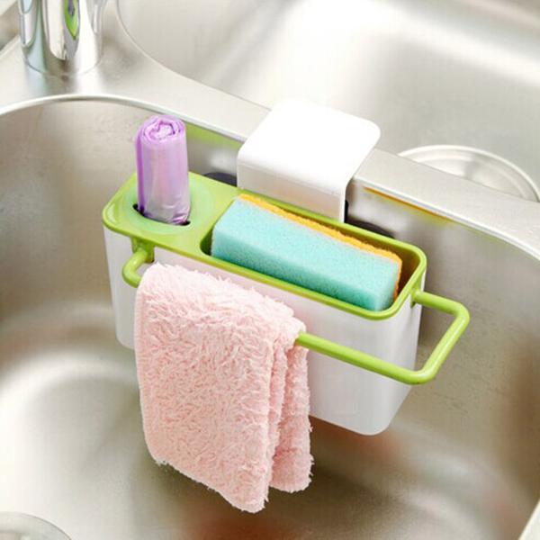 جديد العملي أدوات المطبخ بالوعة فرشاة الإسفنج القماش رف الالتصاق تخزين مربع حامل شحن مجاني ، الهندباء