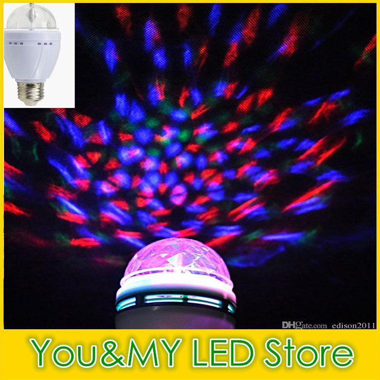 LED Mini E27 3W Party Light Disco Stage Lighting RGB Colorful Rotating lamp Magic Ball Bulb