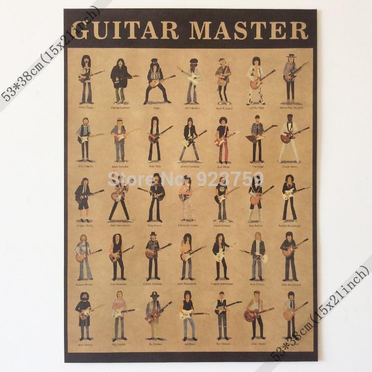 Chitarrista Frank Zappa, george Harrison, slash, jimi Hendrix Vintage Home Decorazione della parete Poster 21x15 pollici (53 * 38 cm) Poster di carta