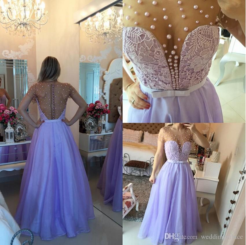 2018 Jewel Short Sleeve Prom Dresses Light Purple Lace Pearls Button Back Floor-length Real A-line Sheer Neck Evening Party Dresses Gowns