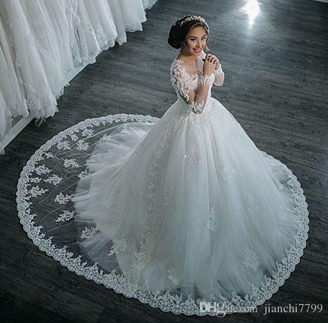 New Dubai Elegant Ball Gown Wedding Dress Long Sleeves Sheer Crew ...