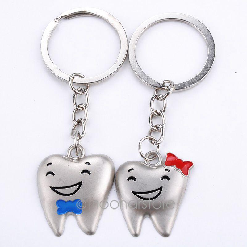 أسنان الكرتون طبيب الأسنان الديكور سلاسل المفاتيح الفولاذ المقاوم للصدأ الأسنان نموذج الشكل الأسنان عيادة هدية مجانية zMPJ501