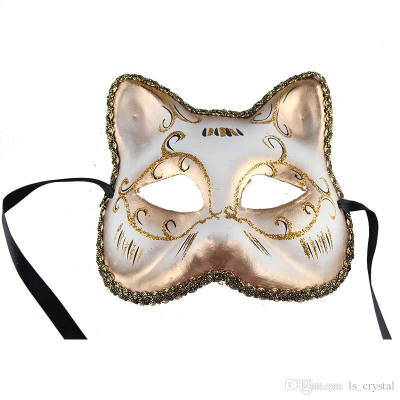 European Christmas Cat Face Women Mask Half Face Venice Masquerade Party Sexy Beauty Mask Halloween Festive Favors 10pcs/lot SD421