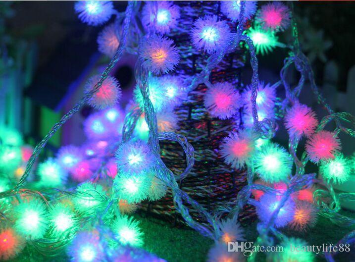 عطلة أضواء شجرة عيد الميلاد زخرفة حزب سلسلة أضواء للماء ضوء بار أضواء 10 متر 80LED ضوء البطارية الفراء الكرة