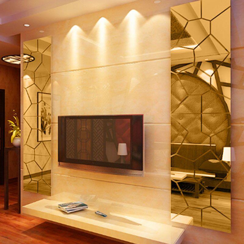 Moire Pattern Mirror Decal Art Mural Wall Sticker Home Decor Luxury ...