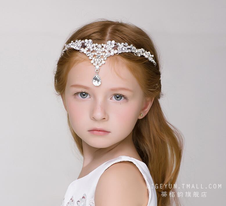 Childrens Luxury Super Flash Crystal Hair Accessories Headdress Baby Frontlet Flower Girl Tiara Wedding Crown Hairs