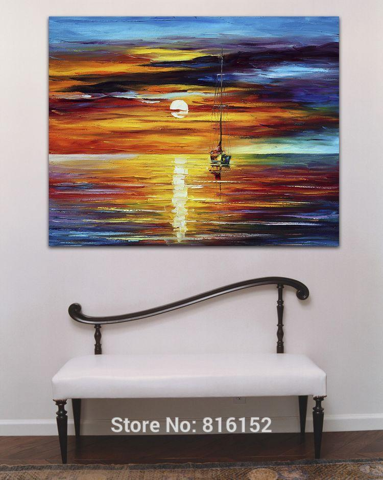 Sailing Boat on Dust Ocean Scene Palette Knife Oil Painting Wall Art Picture Printed On Canvas For Office Home Hotel Decor
