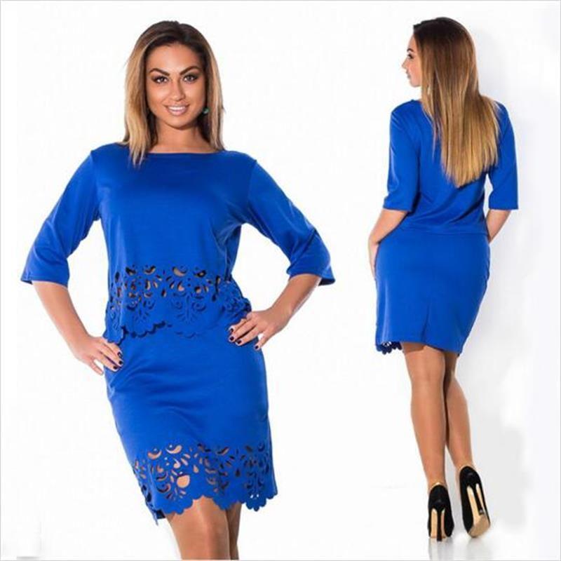 الجملة أنيقة مثير 2 قطعة مجموعة الصيف النساء الفساتين حجم كبير NEW 2016 بالاضافة الى حجم النساء ملابس L-6XL فستان عارضة س الرقبة اللباس Bodycon